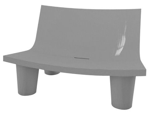 Möbel - Möbel für Teens - Low Lita Love Sofa 2 Sitze lackiert - Slide - Grau lackiert - Polyéthylène recyclable laqué