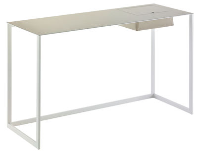 Furniture - Office Furniture - Calamo Desk - Leather / L 130 cm by Zanotta - Light grey / White legs - Leather, Varnished steel