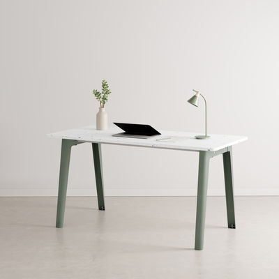 Furniture - Office Furniture - New Modern Desk - / 150 x 70 cm - Recycled plastic by TIPTOE - Eucalyptus Grey - Powder coated steel, Recycled plastic