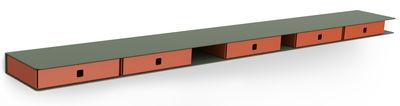 Etagère Alizé / 4 tiroirs - L 120 cm - Matière Grise orange,kaki en métal