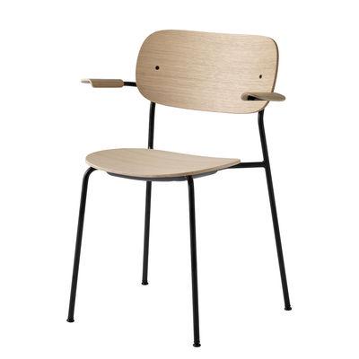 Mobilier - Chaises, fauteuils de salle à manger - Fauteuil empilable Co Chair / Bois & métal - Menu - Chêne clair & noir - Acier laqué, Contreplaqué de chêne