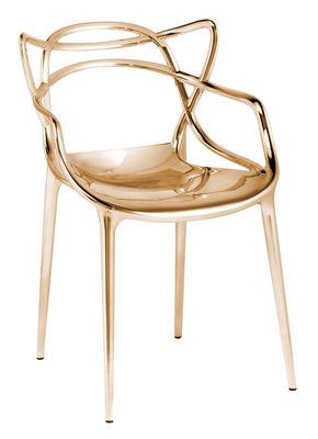 Mobilier - Chaises, fauteuils de salle à manger - Fauteuil empilable Masters / Métallisé - Kartell - Or - Technopolymère thermoplastique recyclé