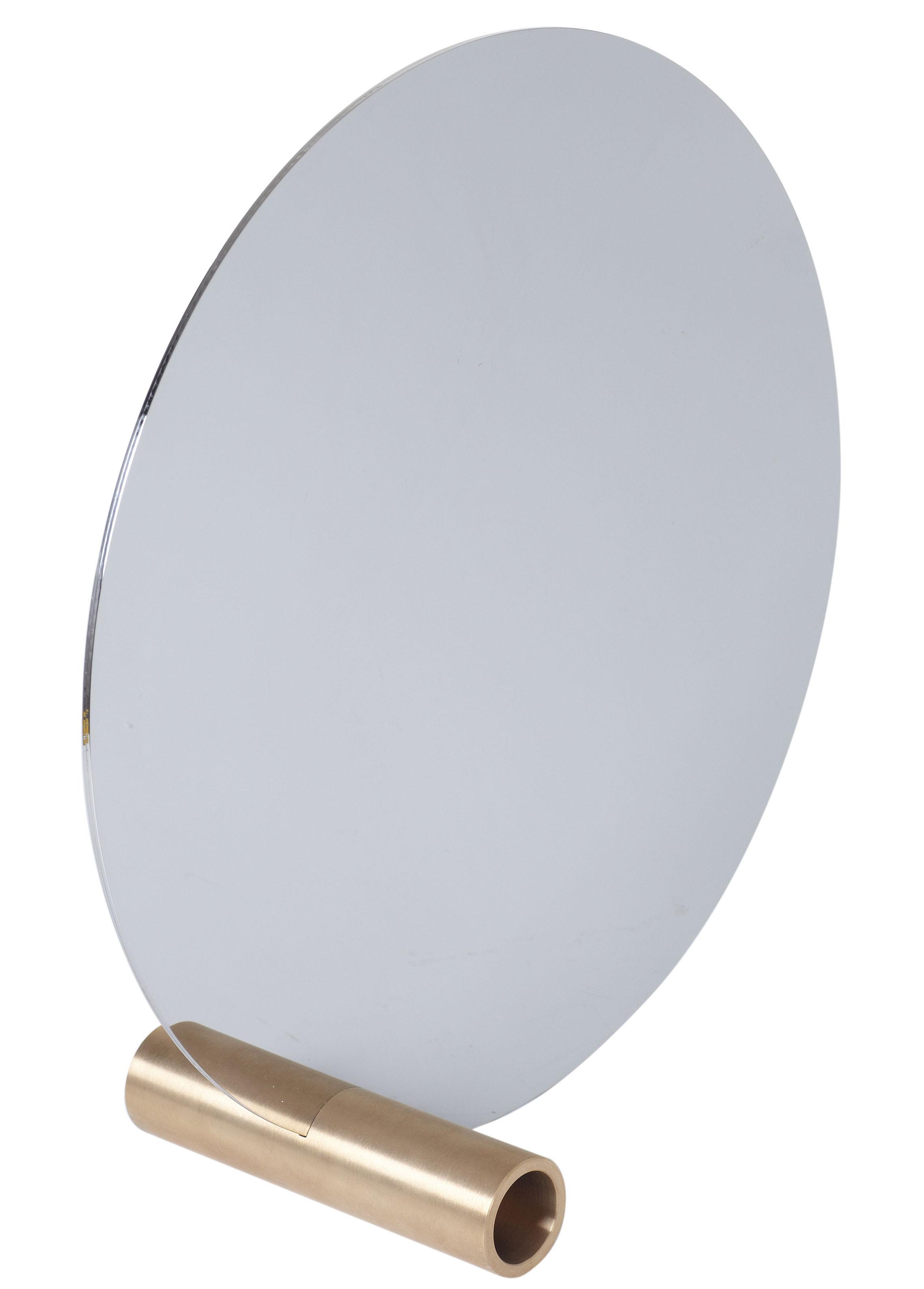 Déco - Miroirs - Miroir à poser Disque / Ø 30 cm - L'atelier d'exercices - Miroir / Base laiton - Inox poli, Laiton massif