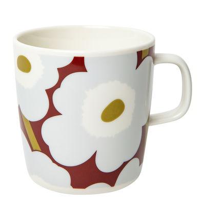 Tableware - Coffee Mugs & Tea Cups - Unikko Mug - / 40 cl by Marimekko - Unikko / Red, grey, olive - Sandstone
