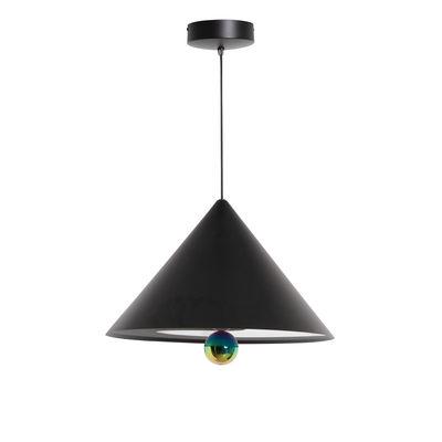 Leuchten - Pendelleuchten - Cherry Large Pendelleuchte / LED - Ø 50 x H 38 cm - Petite Friture - Schwarz / Kugel irisierend - Aluminium