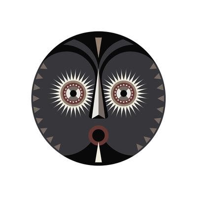 Tableware - Napkins & Tablecloths - Mask Placemat - / Ø 38 cm - Vinyl by PÔDEVACHE - Mask no. 3 / Grey, black & beige - Vinal
