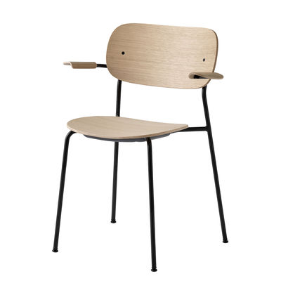 Arredamento - Sedie  - Poltrona impilabile Co Chair - / legno & metallo di Menu - Rovere chiaro & nero - Acciaio laccato, Compensato di rovere