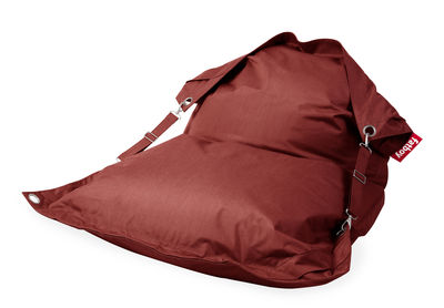 Pouf Buggle-up Outdoor / Sangles ajustables - Tissu acrylique - Fatboy L 190 x Larg 140 cm rouge en tissu