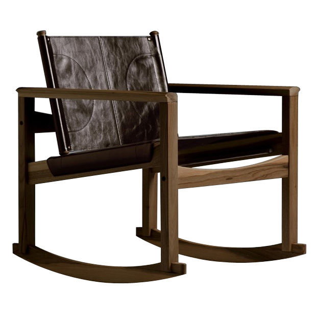 Mobilier - Fauteuils - Rocking chair Peglev - Objekto - Structure noyer verni / Housse cuir Macassar - Cuir, Noyer