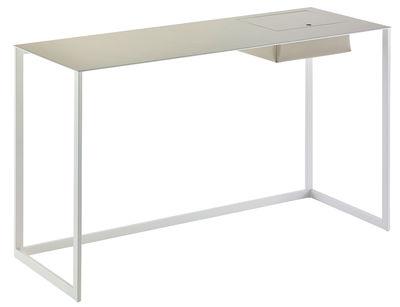 Möbel - Büromöbel - Calamo Schreibtisch / Konsole - Sattelleder - L 130 cm - Zanotta - Leder hellgrau / Tischbeine weiß - Cuir sellier, gefirnister Stahl
