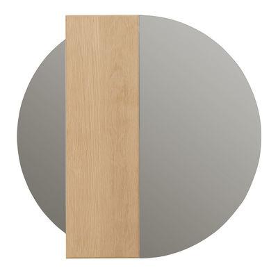 Image of Specchio murale Charlotte - / Striscia in legno calamitata -  Ø 60 cm di Hartô - Legno naturale - Legno