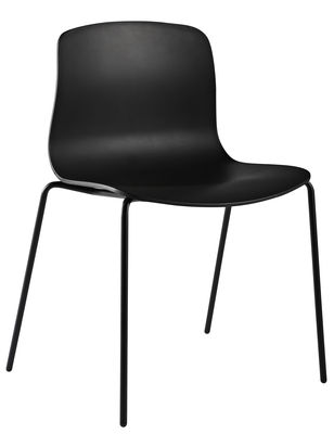 Furniture - Chairs - About a chair AAC16 Stacking chair - Plastic shell & metal legs by Hay - Black - Polypropylene, Steel