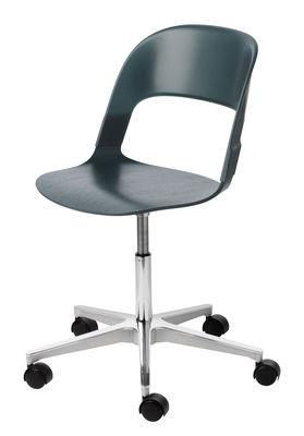 Möbel - Bürosessel - Pair Stuhl mit Rollen / Holz & Kunststoff - Fritz Hansen - Grün / Fußgestell chrom-glänzend - getöntes Eichenholzfurnier, Polykarbonat, verchromter Stahl