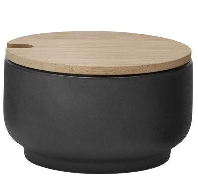Kitchenware - Sugar Bowls, Milk Pots & Creamers - Theo Sugar bowl by Stelton - Matt black & bamboo - Bamboo, Enamelled sandstone