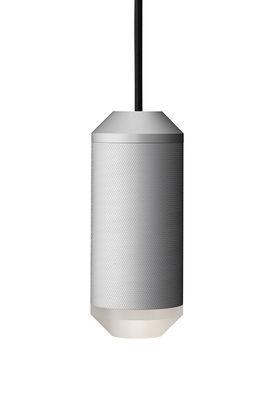 Luminaire - Suspensions - Suspension Backbeat / Résille de métal - Ø 7,5 x H 18 cm - Rewired - Argent / Diffuseur blanc - Aluminium, PMMA