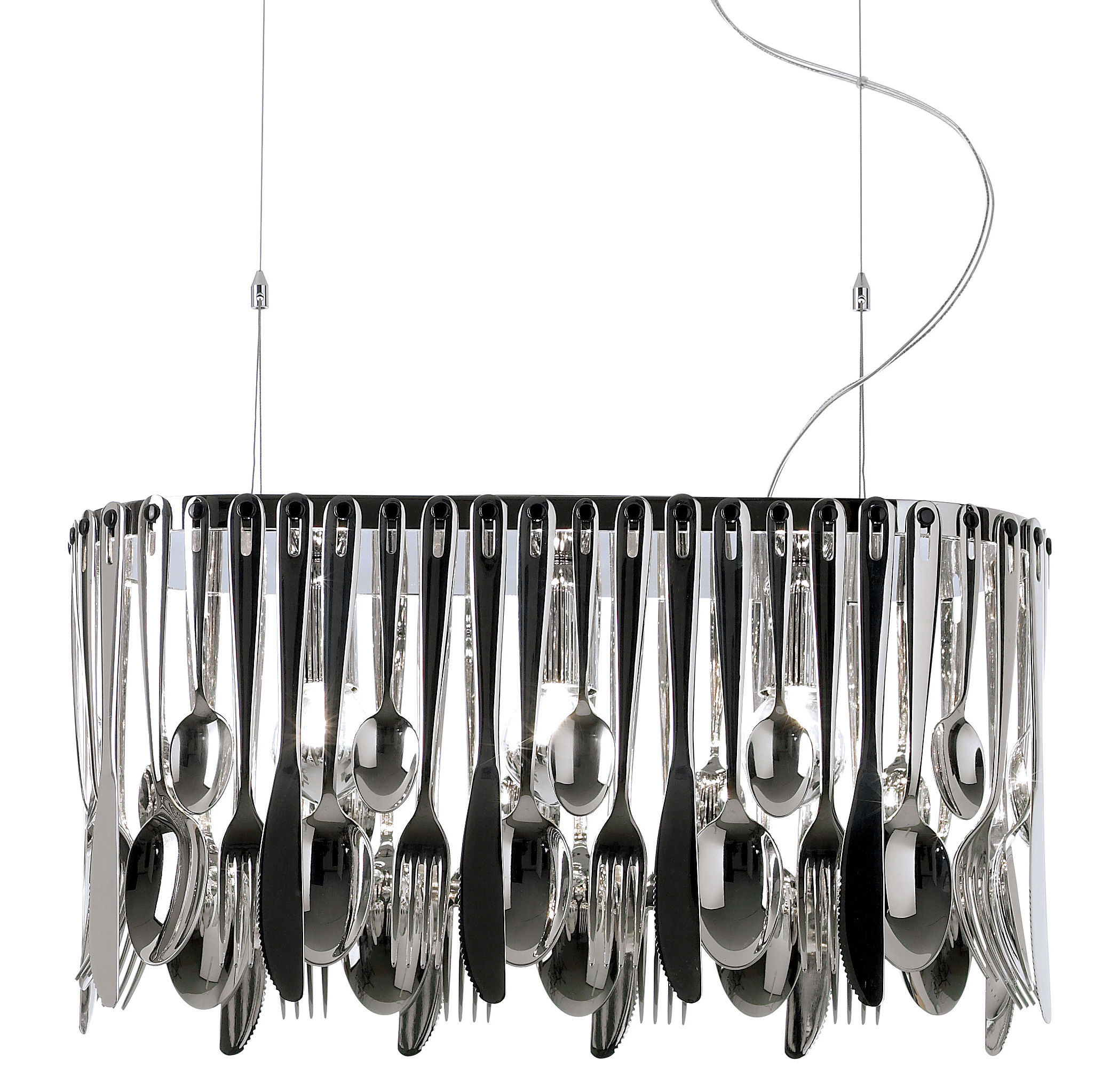 Luminaire - Suspensions - Suspension Hungry - Fabbian - Small - L 43 cm - Acier inoxydable