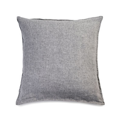 Dekoration - Wohntextilien - Taie d'oreiller 65 x 65 cm / 65 x 65 cm - Leinen gewaschen - Au Printemps Paris - Anthrazit meliert - Lin lavé