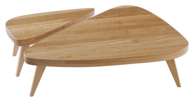Arredamento - Tavolini  - Tavolino Remix - / Set 2 tavoli L 89 cm+L 115 cm di The Hansen Family - Rovere - L 89 cm + L 115 cm - Rovere massello