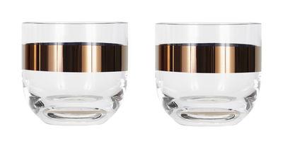 Arts de la table - Verres  - Verre à whisky Tank / H 8 cm - Set de 2 - Tom Dixon - Transparent / Cuivre - Verre soufflé bouche