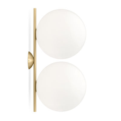 Lighting - Wall Lights - IC Double 1 Wall light - / Ceiling light - l 42 cm, Ø 20 cm by Flos - Brass / White - Blown glass, Steel with brass finish