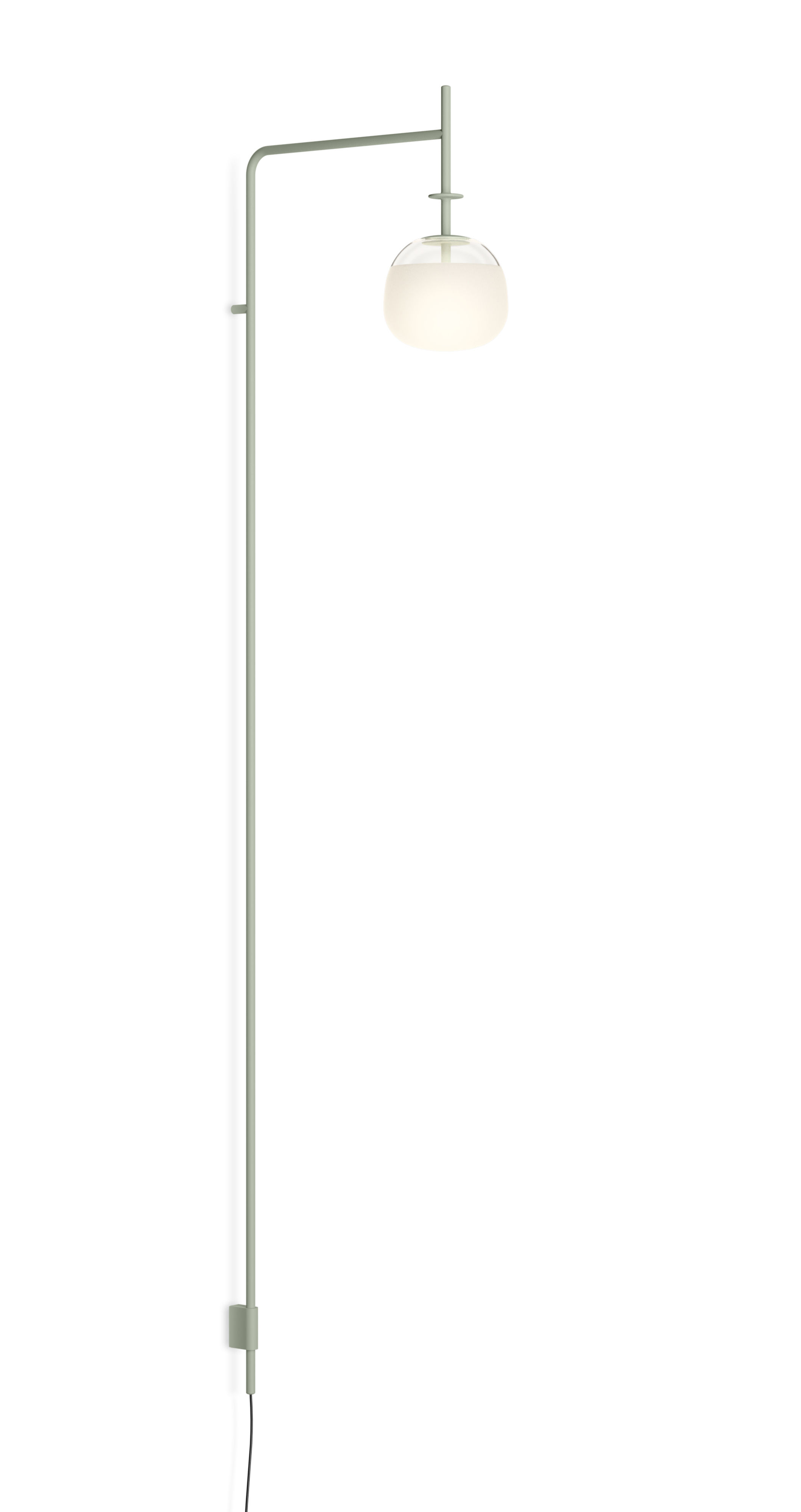 Lighting - Wall Lights - Tempo Globe Wall light - / LED - Fixed arm L 36 cm by Vibia - Green - Blown glass, Lacquered steel