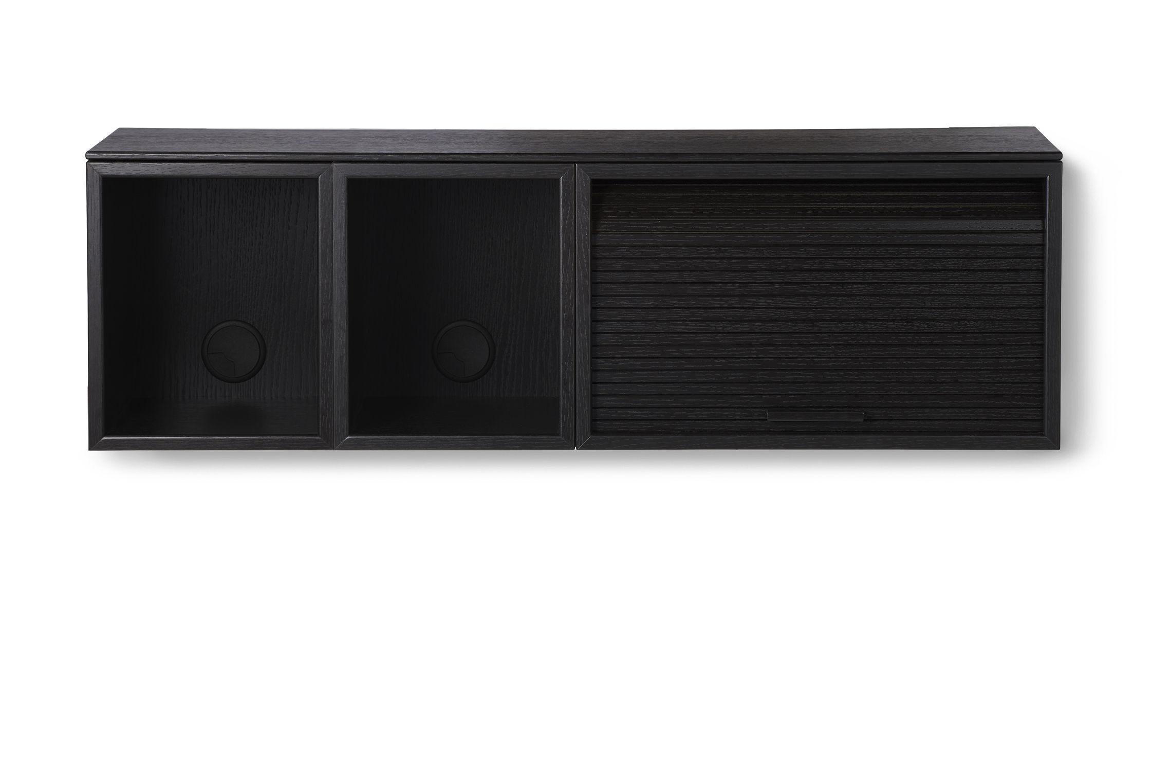Furniture - Shelves & Storage Furniture - Hifive Slim Wall storage - / TV table - L 100 x H 30 cm by Northern  - Black - Plywood - painted oak