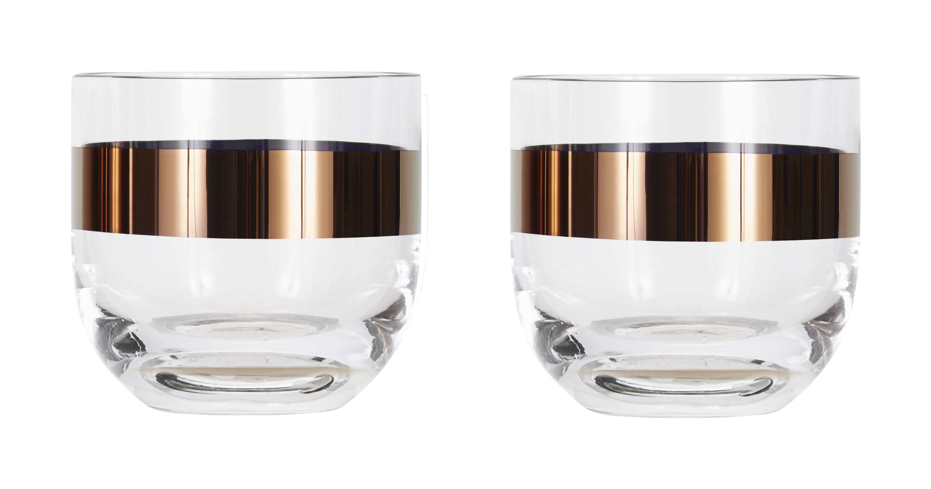 Tableware - Wine Glasses & Glassware - Tank Whisky glass - Set of 2 by Tom Dixon - Transparent / Copper - Mouth blown glass