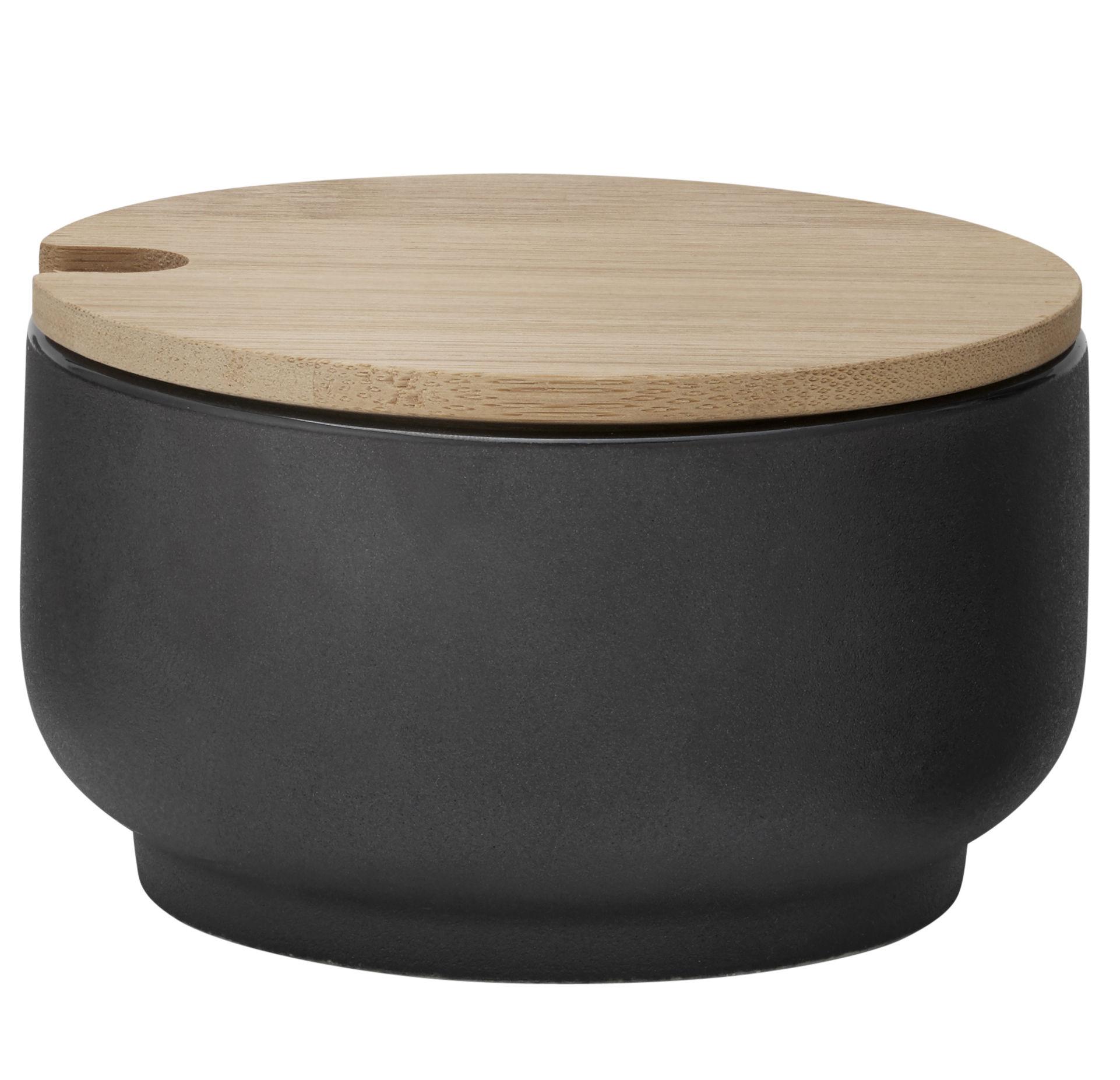 Küche - Zuckerdosen und Milchkännchen - Theo Zuckerdose / Steinzeug & Bambus - Stelton - Schwarzmatt & Bambus - Bambus, emaillierter Sandstein