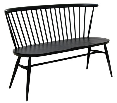 Möbel - Bänke - Love Seat Bank mit Rückenlehne / L 117 cm - Neuauflage des Originals von 1955 - Ercol - Schwarz - massive Buche, Massivulme