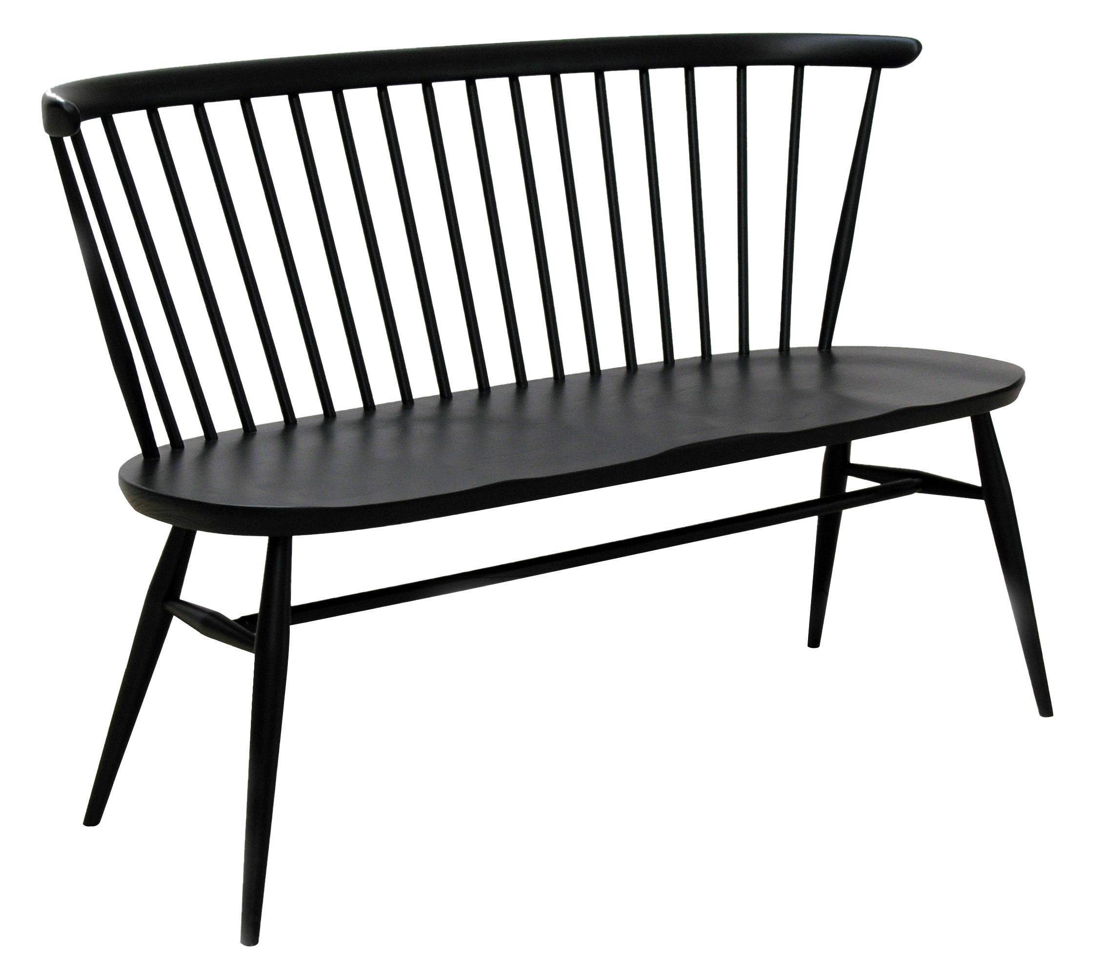 Furniture - Benches - Love Seat Bench with backrest - Reissue 1955 by Ercol - Black - Natural beechwood, Solid elm