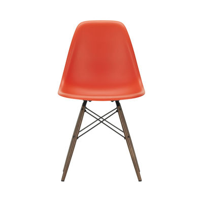 Furniture - Chairs - DSW - Eames Plastic Side Chair Chair - / (1950) - Dark wood by Vitra - Poppy red / Dark wood - Polypropylene, Solid maple
