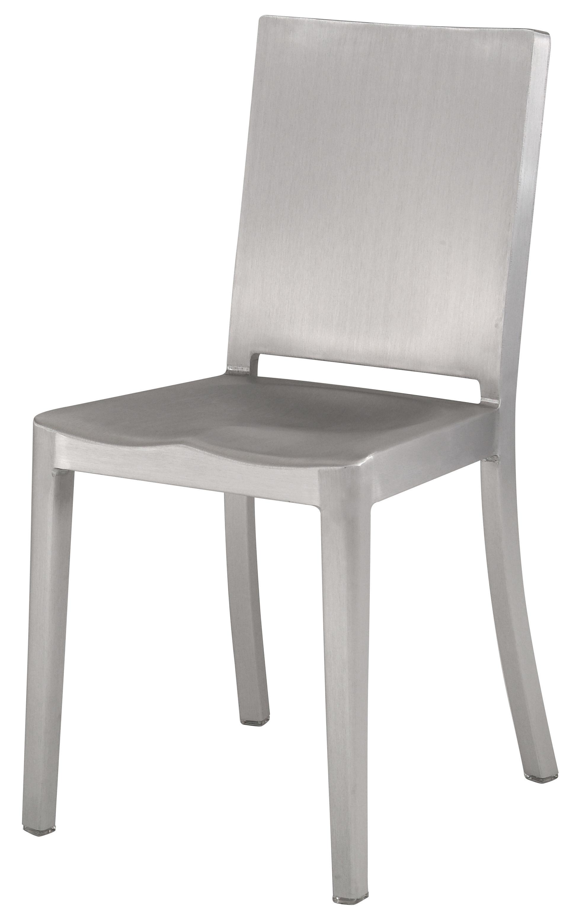 Furniture - Chairs - Hudson Outdoor Chair - Aluminium by Emeco - Brushed aluminium - Recycled brushed aluminium