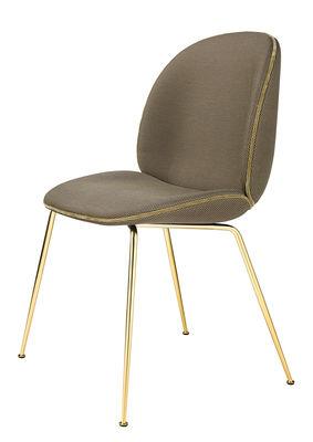 Chaise rembourrée Beetle / Gamfratesi - Tissu - Gubi noir,beige,laiton en métal