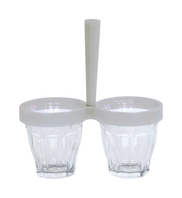 Coupelle Duo de choc / Kit coupelle apéro : 1 poignée + 2 verres Duralex - Designerbox transparent,gris clair en verre