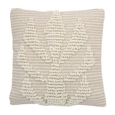 Déco - Coussins - Coussin / 40 x 40 cm - Laine - Motif brodé en relief - Bloomingville - Crème - Laine