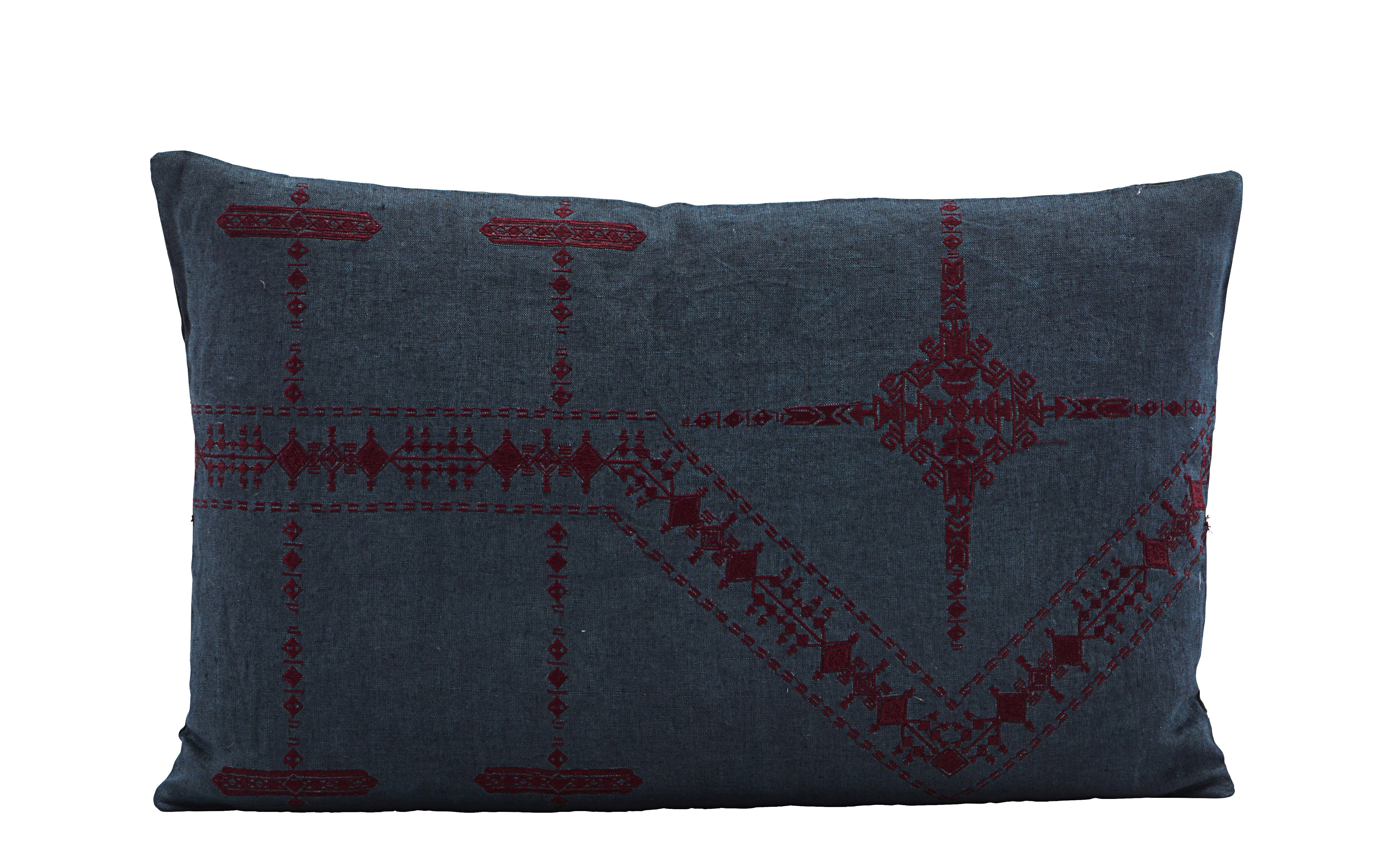 Decoration - Cushions & Poufs - Inka Cushion - / Linen - 30 x 50 cm by House Doctor - Blue - Down, Linen