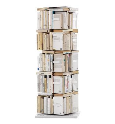 Möbel - Regale und Bücherregale - Ptolomeo Drehbares Bücherregal 4 Seiten - für stehende Bücher - Opinion Ciatti - Weiß - H 110 cm - lackierter Stahl