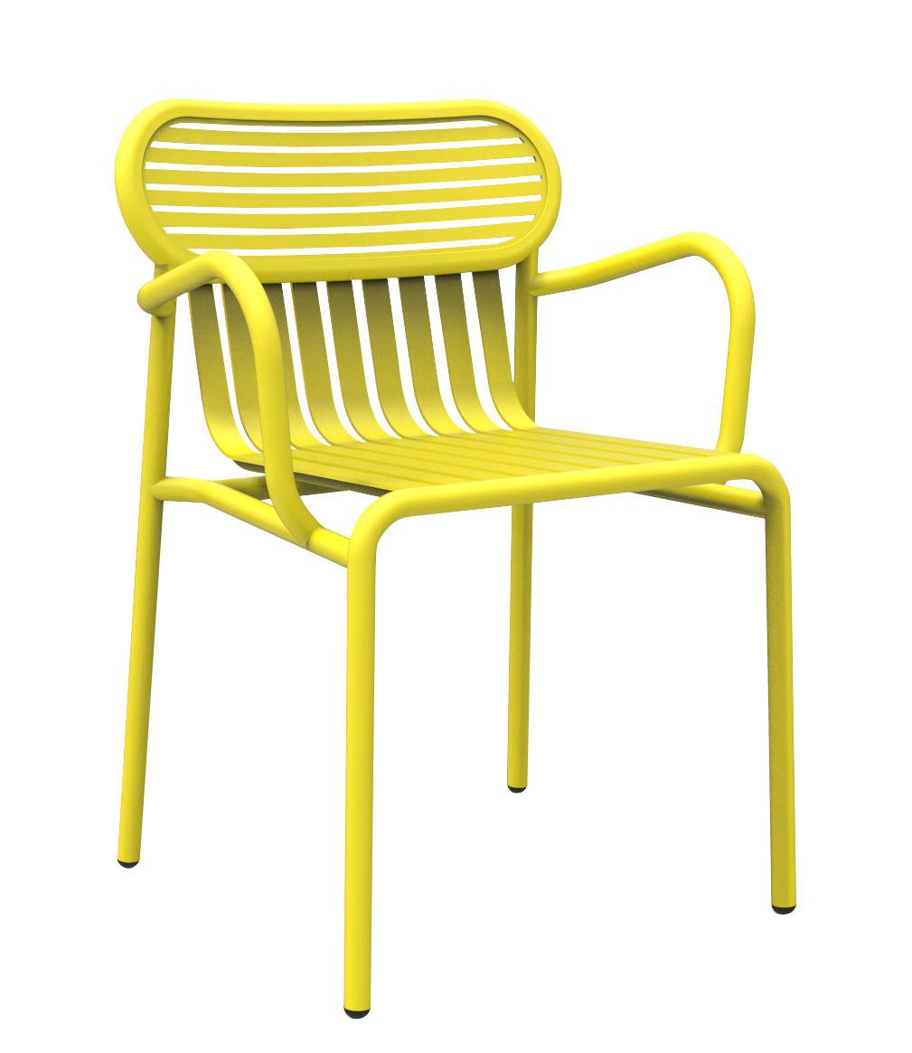 Mobilier - Chaises, fauteuils de salle à manger - Fauteuil bridge Week-end / Aluminium - Petite Friture - Jaune - Aluminium thermolaqué époxy