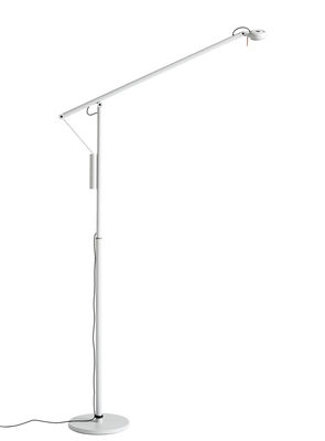 Lighting - Floor lamps - Fifty-Fifty Floor lamp - / Orientable - H 135 cm by Hay - Ash grey - Aluminium, Foam, Silicone, Steel plate