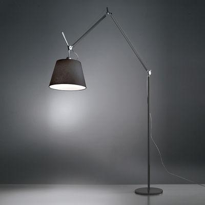 Lighting - Floor lamps - Tolomeo Mega Floor lamp - H 148 to 327 cm by Artemide - Diffuser Ø 42 cm / Black - Fabric, Painted aluminium