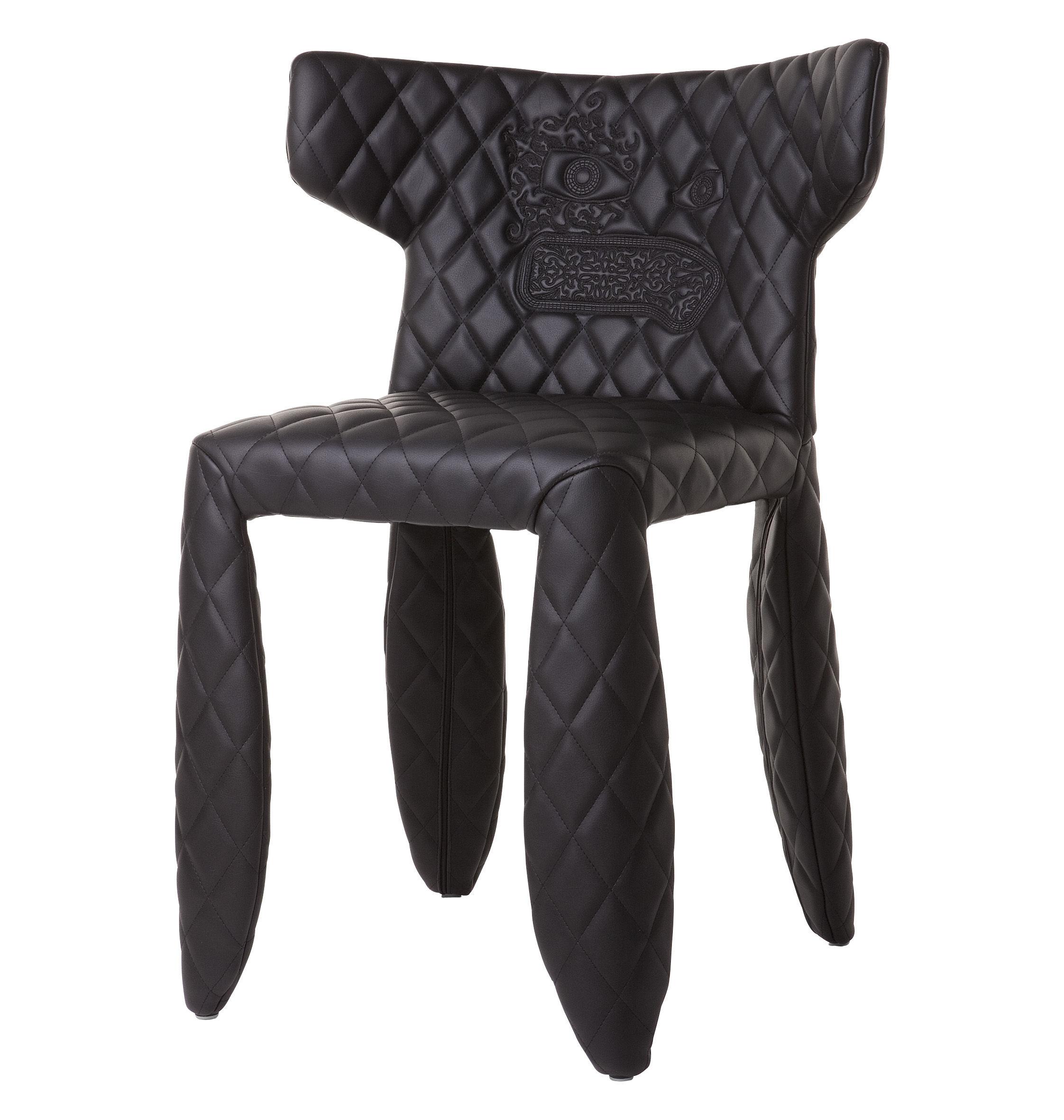Möbel - Stühle  - Monster Gepolsterter Sessel Modell mit Stickerei - Moooi - Schwarz - bestickt - Cuir synthétique