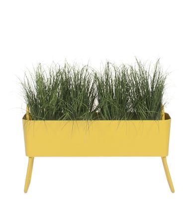 Jardin - Pots et plantes - Jardinière Greens Mini / Métal - L 100 x H 46 cm - Maiori - Jaune moutarde - Aluminium laqué époxy