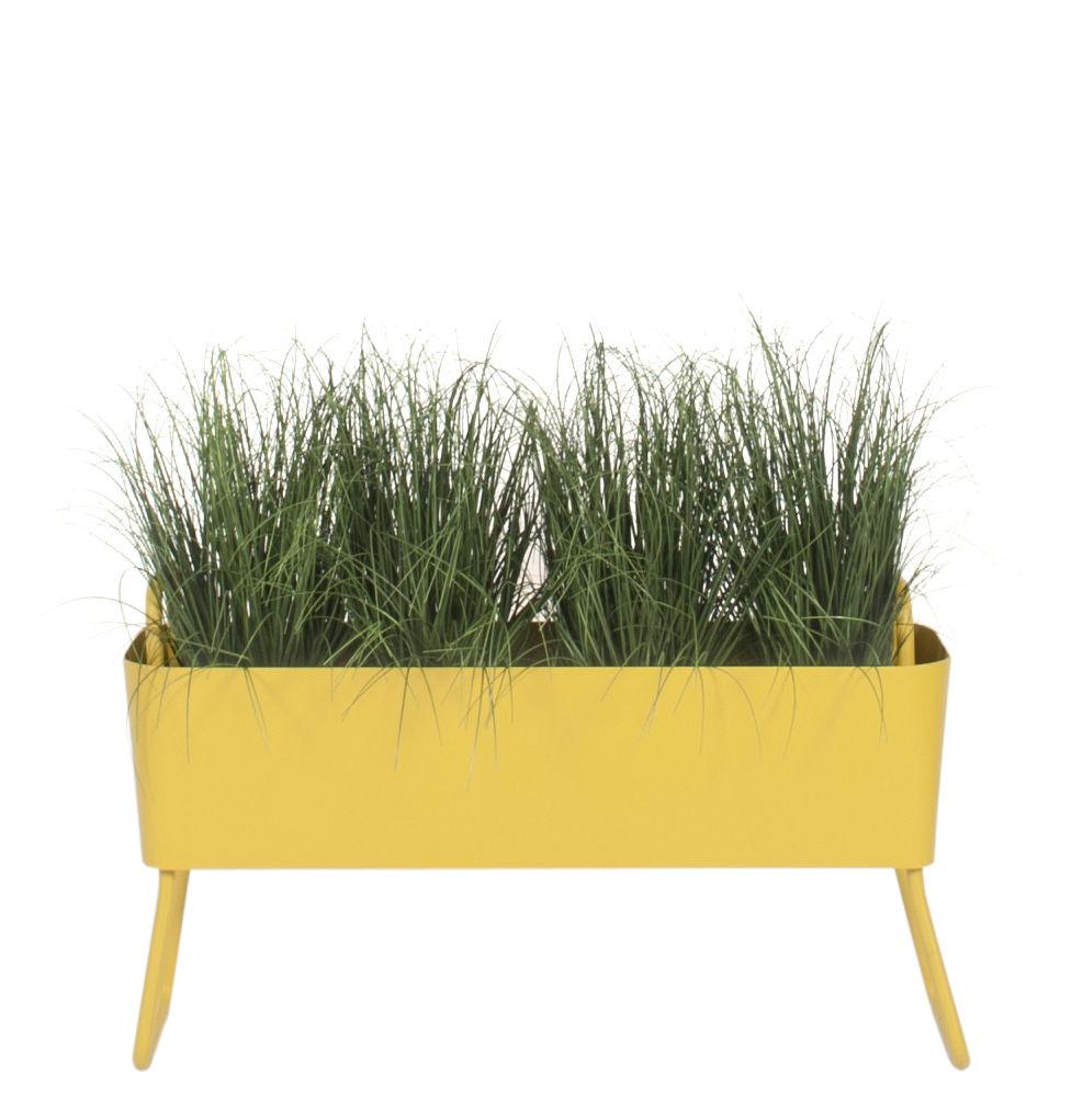 Outdoor - Pots et plantes - Jardinière Greens Mini / Métal - L 100 x H 46 cm - Maiori - Jaune moutarde - Aluminium laqué époxy