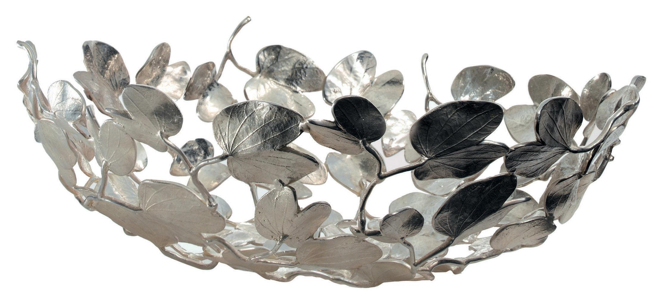 Tischkultur - Körbe, Fruchtkörbe und Tischgestecke - Kachnar II Korb Blättermotiv - Driade Kosmo - Messing versilbert - versilbertes Messing