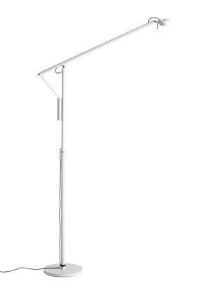 Illuminazione - Lampade da terra - Lampada a stelo Fifty-Fifty - / Orientabile - H 135 cm di Hay - Grigio cenere - Alluminio, Espanso, Lamiera d'acciaio, Silicone