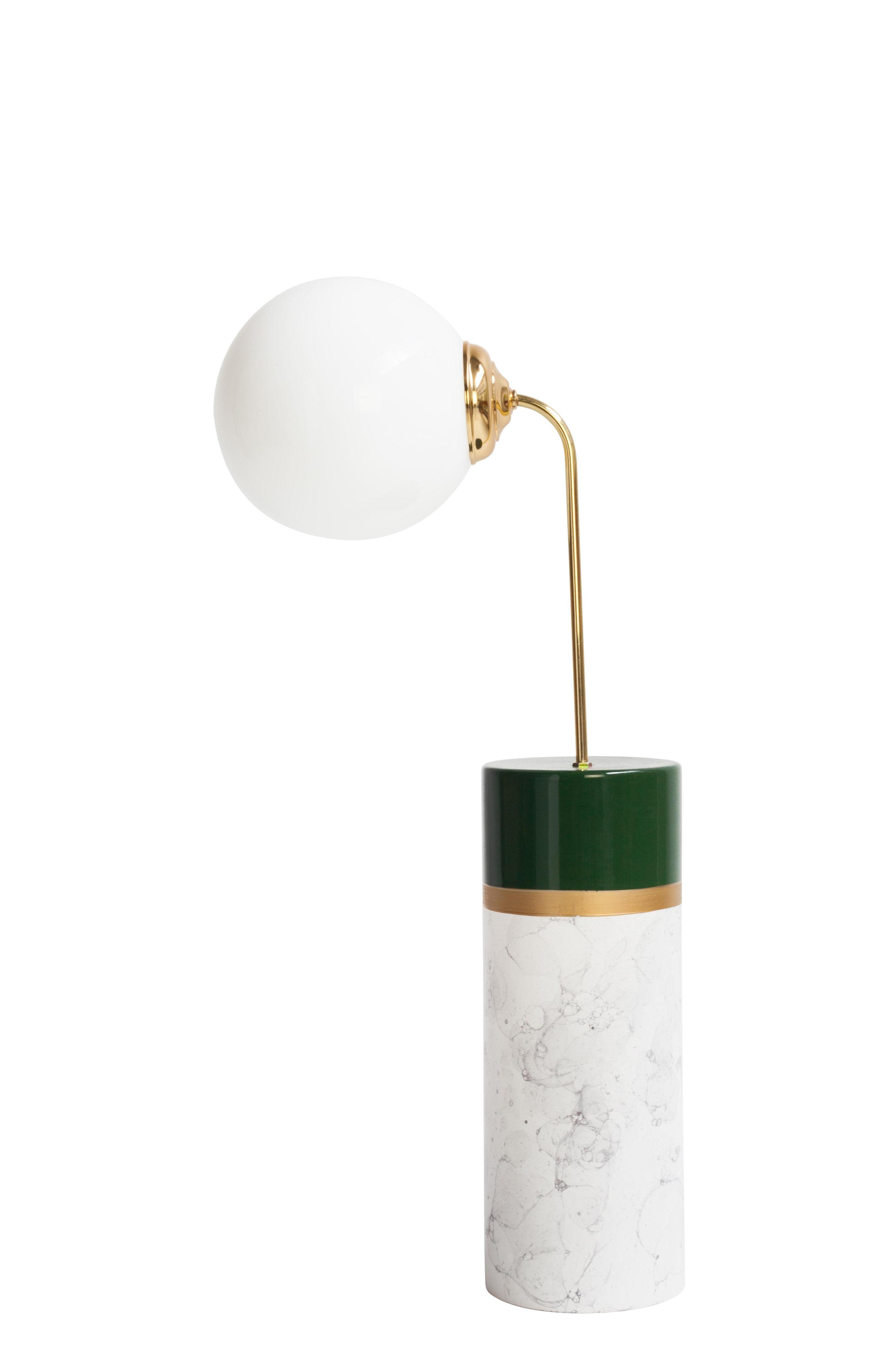 Illuminazione - Lampade da tavolo - Lampada da tavolo Avalon Round - / Ceramica - H 85 cm di Houtique - Verde, Oro & Bianco - Acciaio, Ceramica smaltata, Vetro