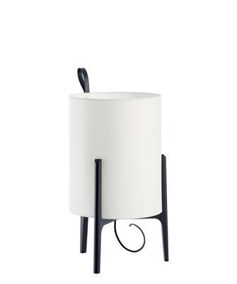 Image of Lampada da tavolo Greta - / Ø 20 x H 33 cm di Carpyen - Bianco/Nero - Tessuto/Legno