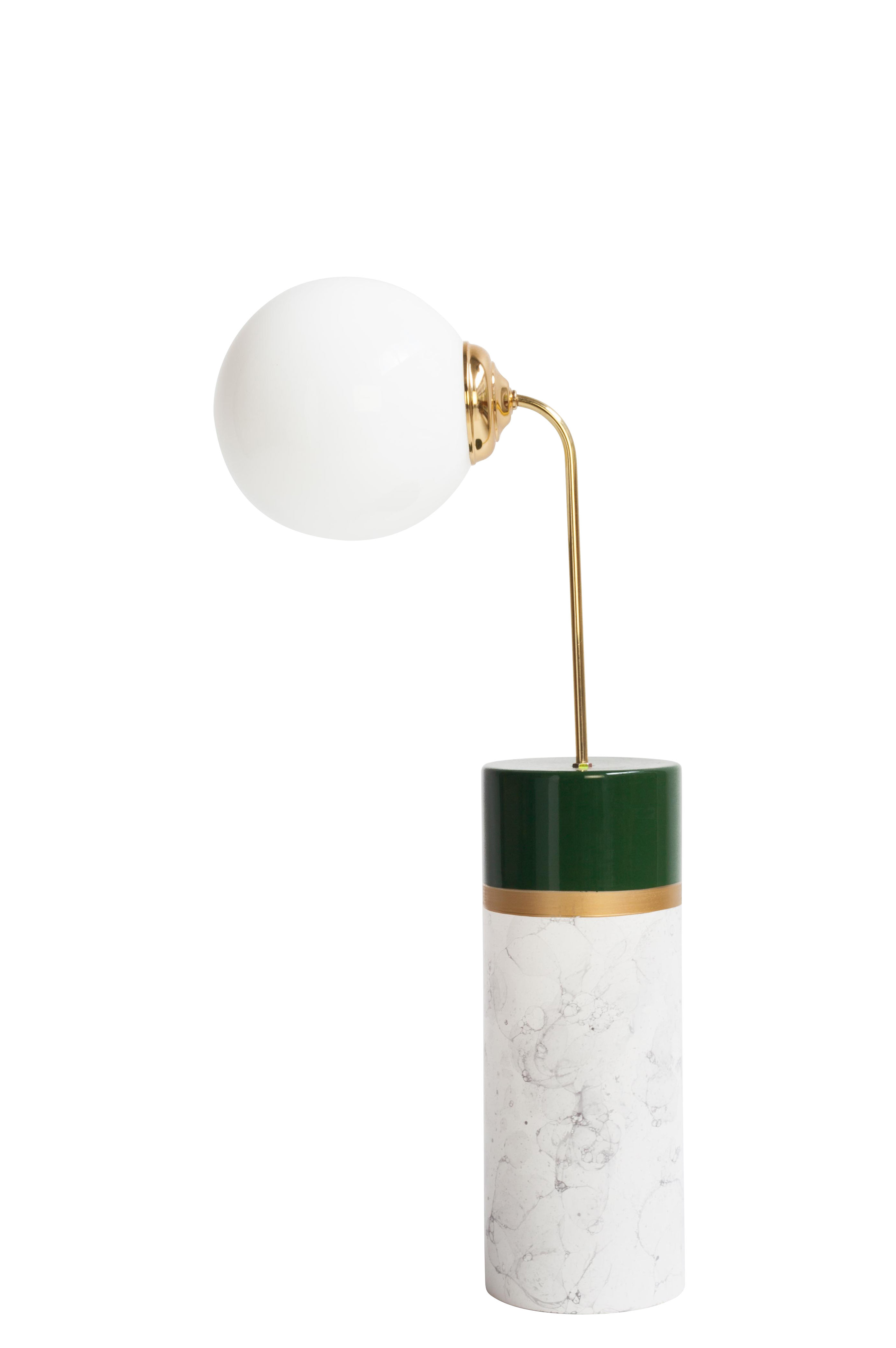 Luminaire - Lampes de table - Lampe de table Avalon Round / Céramique - H 70 cm - Houtique - Vert, Or & Blanc - Acier, Céramique émaillée, Verre