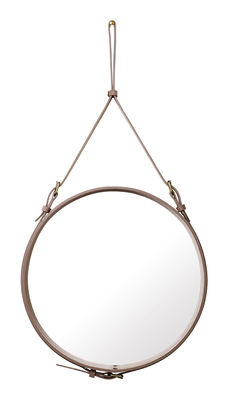 Miroir mural Adnet / Ø 58 cm - Réédition 50' - Gubi rose pâle en cuir