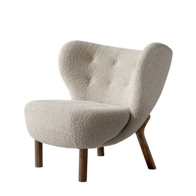 Furniture - Armchairs - Little Petra VB1 Padded armchair - / 1938 reissue by &tradition - Beige / Walnut - Foam, Oiled solid walnut, Terrycloth